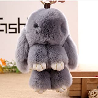 CiCy Bunny Keychain Rabbit Fur Bag Keychain Key Ring Pendant Pom Doll Ball Pendant for Handbag Tote Bag
