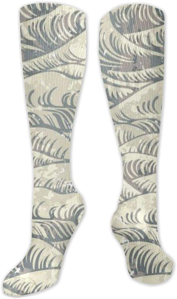 Retro Wave Knee High Socks Leg Warmer Dresses Long Boot Stockings For Womens Cosplay Daily Wear