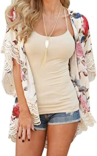 Wyxhkj Mujer Kimono C/árdigan Talla Grande Gasa Blusa Mant/ón Suelta Ba/ño De Playa Impresi/ón De La Hoja Protector Solar Verano