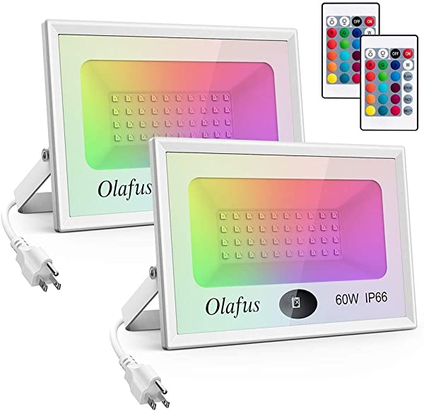 Olafus 2 Pack 60W RGB LED Flood Light Remote Control Dimmable Outdoor Color Changing Floodlights 16 Colors 4 Modes LED Wall Wash Light IP66 Waterproof For Party Wedding Yard Garden US 3 Plug
