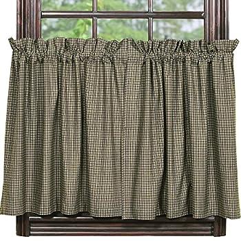 IHF Home Decor 36  Tier Curtain Vintage Star Black Design Cotton Window Curtains Tiers 72 X 36 Inch