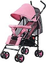Sillas de Paseo Paraguas Ligero Coche Plegable de colisión en Las Cuatro Ruedas Puede Estar Tumbado Carro de bebé de Cuatro Rondas (Color: Rosa)