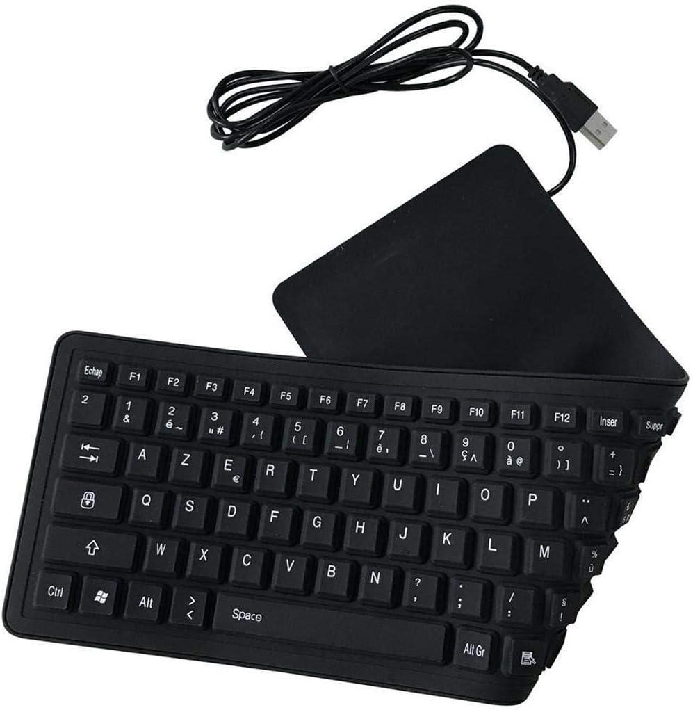 EMEBAY AZERTY - Teclado francés plegable de silicona con 103 teclas para ordenador de sobremesa, ordenador portátil, tablet táctil, teléfono móvil