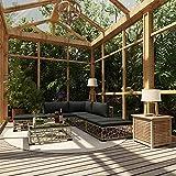 Ksodgun 6-TLG. Garten-Lounge-Set mit Auflagen Balkonmöbel Set Garten Sofagarnitur Gartenlounge für Terrasse, Garten, Balkon Poly Rattan Grau