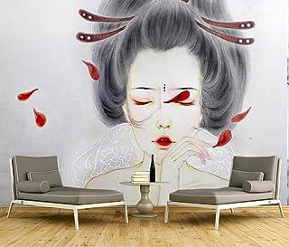 Fotomurales Tamaño Personalizable Papel Tapiz 3D Foto Kimono Japonés Mujer Mural Sala De Estar Sofá Tv Fondo Dormitorio Tela De Seda Mural 200(Ancho) X140(Alto) Cm