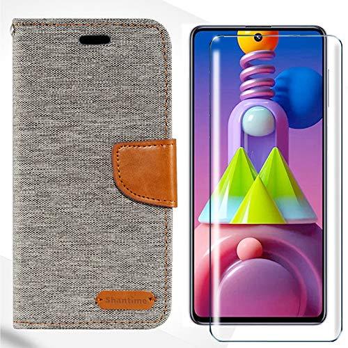 HYMY Denim Custodia per Xiaomi Poco M3 + Vetro Temperato Vetro Pellicola Glass - PU + TPU Silicone Protettiva in Pelle PU Bookstyle Flip Case Cover Shell-Grigio