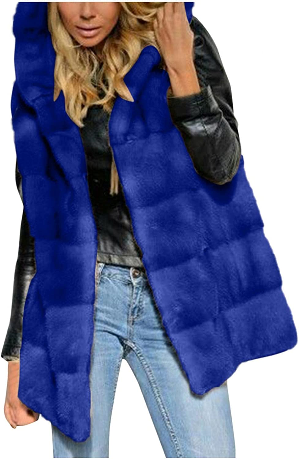 Smileyth Women's Faux Fur Vest Hooded Sleeveless Jacket Solid Co