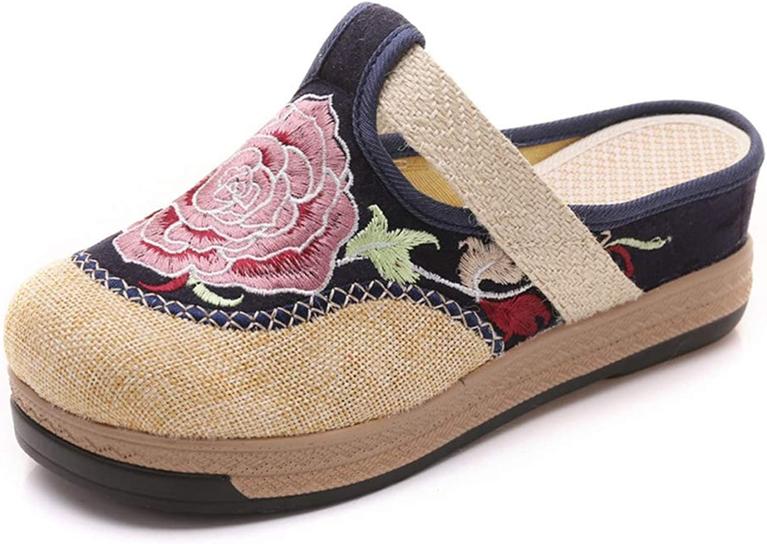 Zarbrina Womens Closed Toe Slip on Espadrilles Sandals Mules Cotton Linen Retro Ladies Flat Slides Embroidery Canvas Vintage Ethnic Footwear