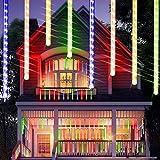 Luz de lluvia de meteoros USB actualizada, 31 cm, 8 tubos de lluvia caida luz LED para festivales,...