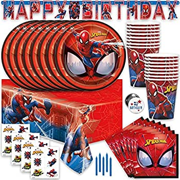 Spiderman Birthday Party Supplies and Decorations Spiderman Party Supplies Serves 16 Guests Includes Tableware and Decor with Table Cover Banner Plates Napkins & More Officially Licensed