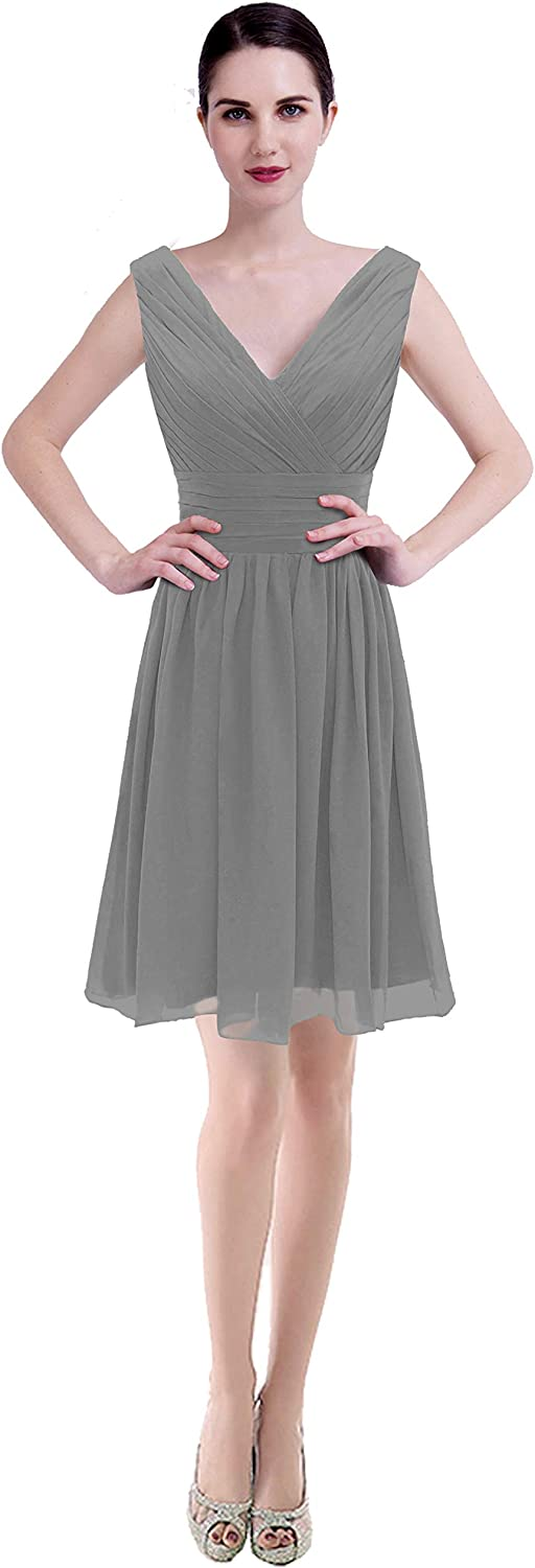 CaliaDress Women V Neck Bridesmaid Dress Formal Evening Gowns Short C199LF