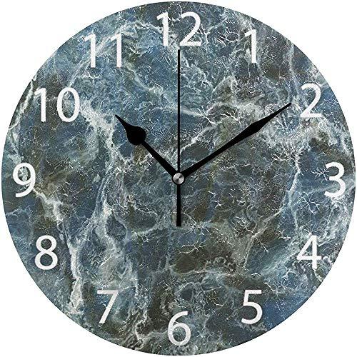 L.Fenn Ronde wandklok, marmerdesign, niet tikken, olieverfschilderij, decoratief voor thuis, kantoor, school, clock art