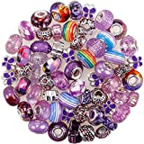 60 Pieces European Large Hole Spacer Beads Assortments Charm Beads Rhinestone Lampwork Beads Supplies for Necklace Bracelets Jewelry Making (Purple)