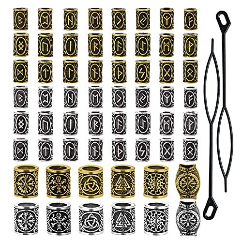 60 cuentas de rastas vikingas para el pelo de la barba, perlas de tubo de pelo nórdico antiguo, pulsera trenzada, colgante de plata, joyería para decoración del cabello (oro antiguo y plata antigua)