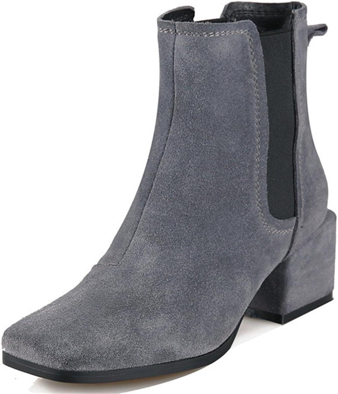 Nine Seven Seven Seven mocka läder Woherrar Square Toe Chunky Heel Slip on Handgjorda Elastiska kängor  Alla produkter får upp till 34% rabatt