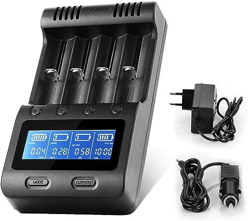 Zanflare C4 18650 Chargeur Batterie, écran LCD Chargeur Piles Intelligent Universel pour Rechargeables Ni-MH Ni-CD AA...
