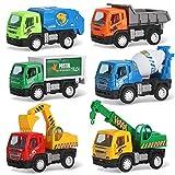 Set of 6 Pullback City Builder Construction Vehicles for Kids - Dump Truck, Cement Mixer, Garbage Truck, Excavator, Crane, Postal Truck