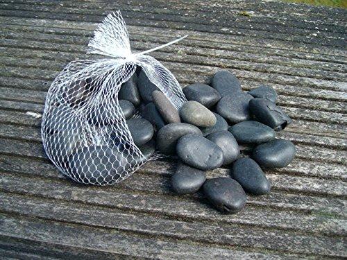 Flusssteine, Dekosteine, Zierkies, Flusskiesel, schwarz, matt 1 Kilo