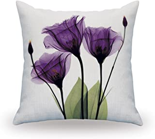 purple and white pillows