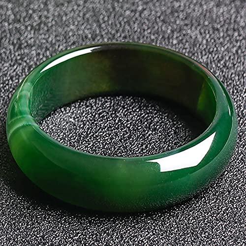 YANSQH Jade Armreif für Frauen Echt,Natürlicher Grüner Jade-Armreif,Handgemacht,Chinesische Art Runden Armreif,68mm