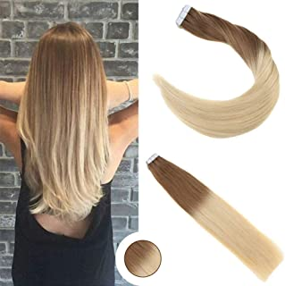 Ugeat 16inch PU Weft Tape in Hair Extensions Ombre Ash Brown to Golden Blonde 100% Real Human Hair Extensions Remy Hair Skin Weft Tape Hair Extensions 50g/20pcs