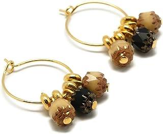 Mini orecchini a cerchio COCO art deco oro marrone nero asimmetrico ottone 24K resina oro regali di natale amici cerimonia...