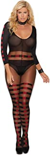 Womens Plus Size Long Sleeve Sheer Crotchless Bodystocking Lingerie Bodysuit