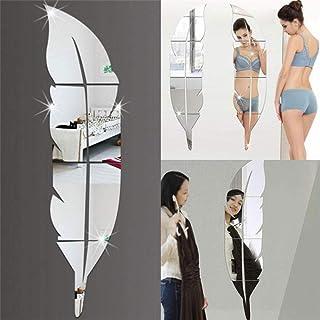 1 Juego De Plata Extraíble Diseño De Plumas Espejo De Tocador 3D con Etiqueta Fuerte Decoración del Hogar Sala De Estar DIY Etiqueta De La Pared