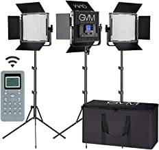 LED Video Light GVM 672S CRI97+ TLCI97+ 22000lux Dimmable Bi-color 3200K-5600K Light Panel With Digital Display For Outdoor Interview Studio Video Making Photography Lighting 3 pcs Kit