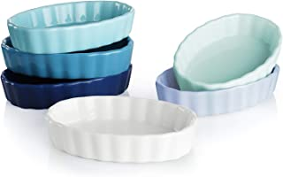 Sweese 504.003 Porcelain Ramekins Oval Shape - 4 Ounce for Creme Brulee - Set of 6, 4.7 x 3.2 x 1 Inch, Cool Assorted Color