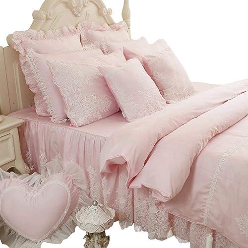 Fancy White Cotton Duvet Cover Bed Skirt Pillow Sham Sew Double Falbala Ruffles