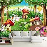 Fotomurales Dibujos animados selva seta casa animal vaca 350x256 cm - 7 Strips Papel tapiz 3D Papel pintado tejido no tejido Decoración De Pared Sala Cuarto Oficina Salón