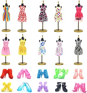UUsave 10 Pack Doll Dress +10 Pairs Shoes Party Gown Outfits Doll Clothes Compatible with Barbie(A)