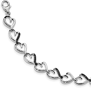 Sterling Silver Rhodium-plated Fancy Lobster Closure Black and White Diamond Bracelet