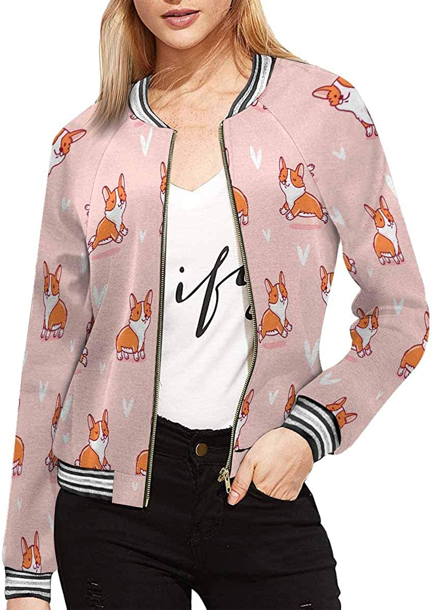 INTERESTPRINT Luxury goods Cute Corgi Women's Stylish Fit Superior Slim Zip-up Jacket