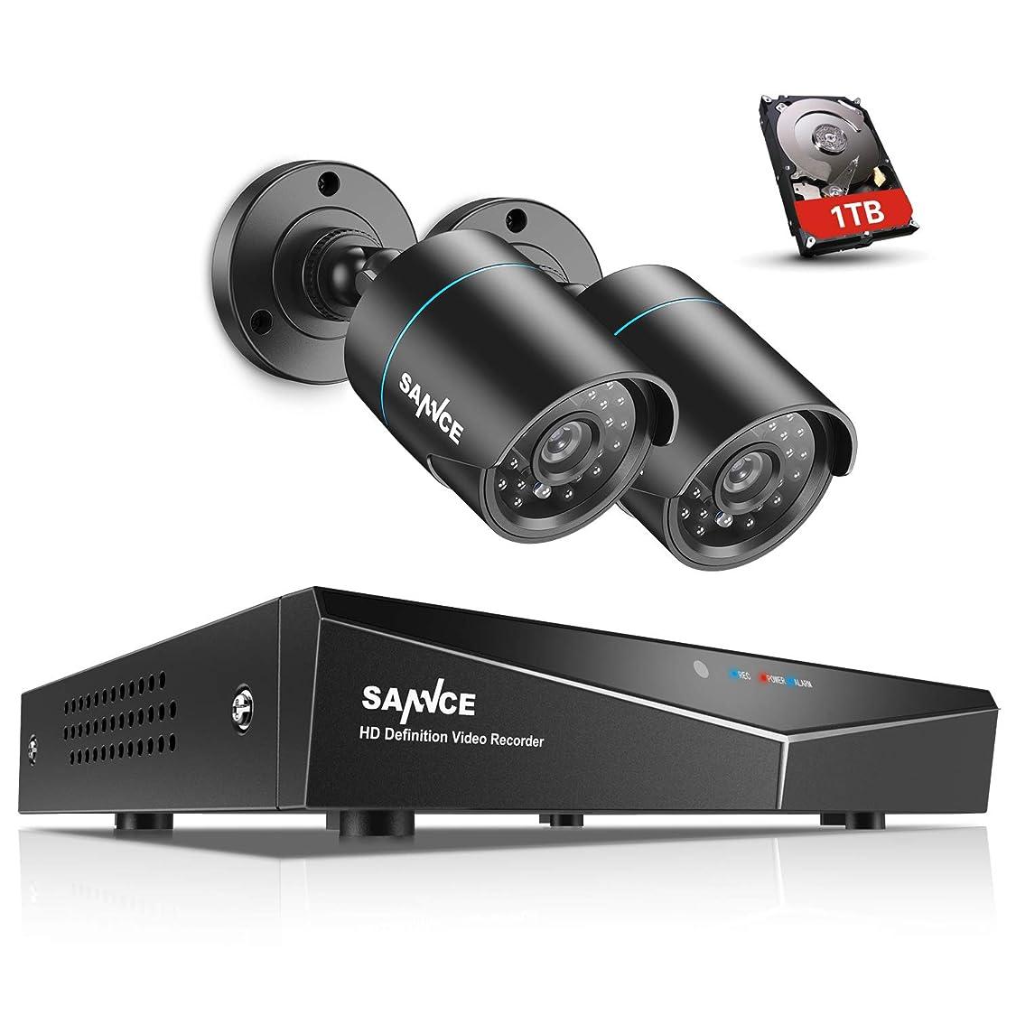 ニックネーム愛情彼女のSANNCE 防犯カメラ屋外セットCVBS/AHD/TVI/IP 4 in 1防犯レコーダー赤外線カメラ2台セット(内蔵1TB HDD)720P TVI型