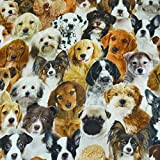 Dekostoff Trixie, Leinenoptik, Hunde, 100% Baumwolle, bunt