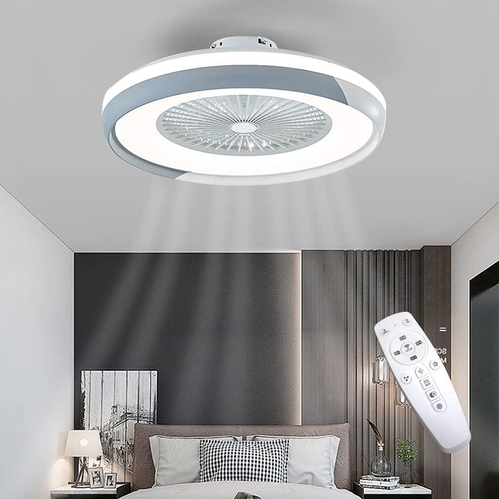 Ventilador De Techo LED Con Luces Ventilador Forma Redonda Luz Techo Dormitorio Control Remoto Regulable Lámparas Ventilador 3 Velocidades Sala Habitación De Niños Fan Silencioso Iluminación 50Cm