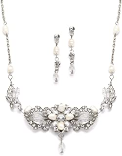 Mariell Freshwater Pearl and Crystal Wedding Jewelry Set for Brides - Handmade Necklace and Earrings