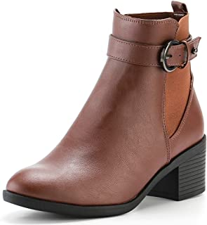 KushyShoo Women Ankle Martin Short Boots Chunky Heel Buckle Strap Booties, Brown, 9 M US