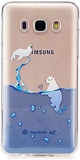 MUTOUREN teléfono Caso Cubrir Volver Piel Protectora Shell Carcasas Funda para Samsung Galaxy J5 (2016) SM-J510F - Divertido Caprichoso Diseño Ocean Sea Lion and Polar Bear