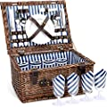INNO STAGE Wicker Picnic Basket Set for 4, Willow Hamper Service Gift for Camping and Outdoor Party