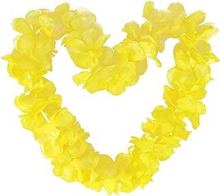 Tropical Hawaiian Luau Ruffled Simulated Silk Flower Leis Party Favor Pack of 10-Yellow