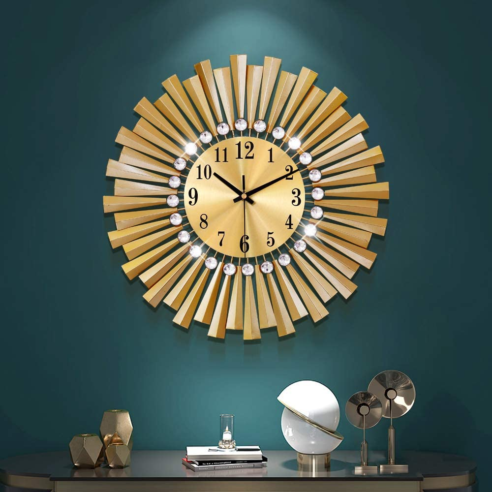 YIJIDECOR Gold Wall Clocks for Living Room Decor Industry No. 1 inc 14 Handmade Recommended