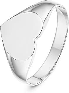 LANDA JEWEL Ladies Sterling Silver Cushion or Oval or Heart Shape Medium Weight Polished Signet Ring