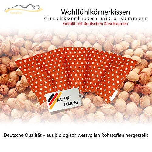 Großes Kirschkernkissen/Entspannungskissen - Heizkissen für Mikrowelle (Wärmekissen) // langes Relaxkissen/Kirschkern-Kissen mit Stern-Muster in 18 Farben! (orange)