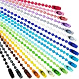 Ball Bead Metal Chain Mixed Color Bead Metal Chain with Connectors for Hanging Christmas Ornament, Jewelry Findings, Key Chain, Tags, Craft Projects (100 Pieces)