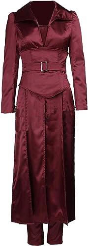 HalFaibleeen Jean gris Costume Rougeatre Marron Satin Tenue avec Accessories pour DéguiseHommest Adulte Femme VêteHommests