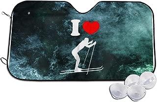PICWG746 I Heart Love Cross Country Ski Car Windshield Sun Shades