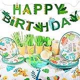 Yosemy 130 Piezas para Fiesta de Cumpleaños, Set de Fiesta de Dinosaurio, Decoraciones para 16 Cumpleaños de Niños,Decoración de Fiesta con Platos,Pajitas,Servilletas,Cubiertos,Pancartas,Manteles